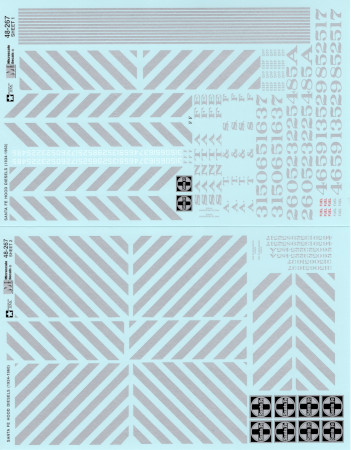 "Microscale 48267 O Railroad Decal Set Atchison Topeka & Santa Fe ATSF ""Zebra Stripe"" Hood Unit Diesels 1934-1960 Pkg 2"
