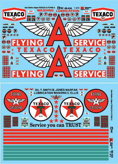 Microscale Decals: O Scale - Texaco Flying Service Gas