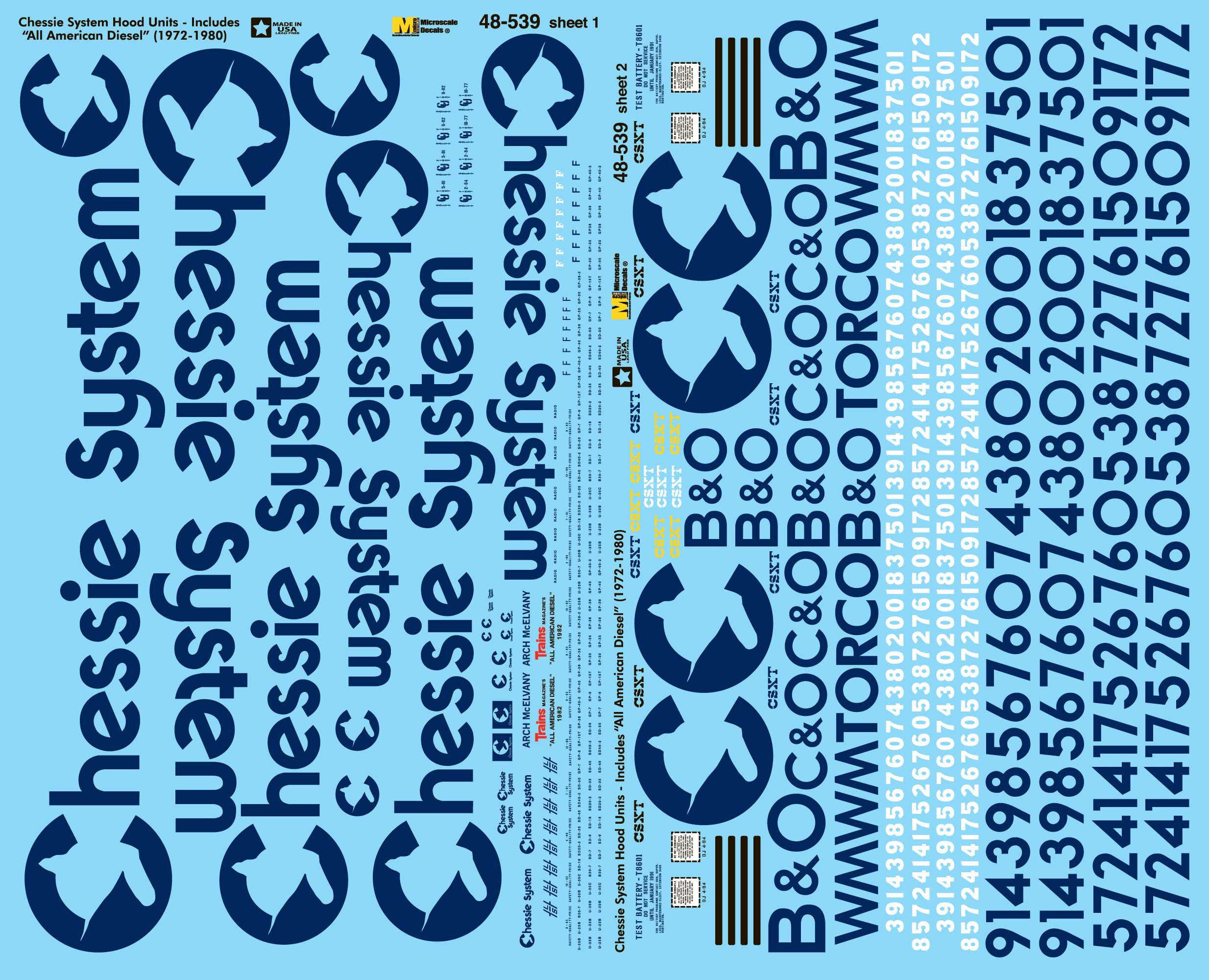=WM= MOW Vehicles decals C/&O SVM-48CSMOW O Scale Chessie Single Set B/&O