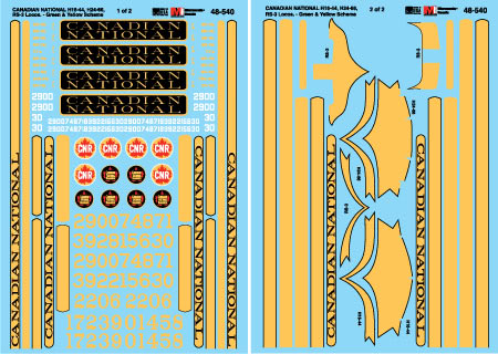 Microscale 48540 O Railroad Decal Set Canadian National Diesels H16-44 H24-66 RS-3 1953-70
