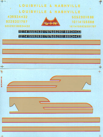 Microscale 4879 O Railroad Decal Set Louisville & Nashville FA-2 Diesels 1948-1963 Pkg 2