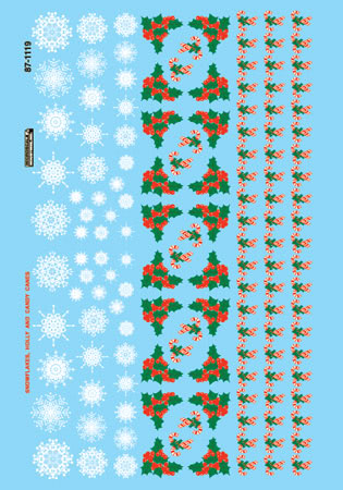 Microscale 601119 N Railroad Decal Set Christmas Train Graphics Holly & Snowflakes
