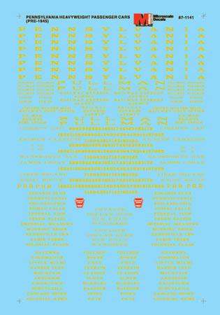 Microscale 601141 N Pennsylvania PRR Heavyweight Passenger Car Lettering 1912-45 Use #460-601142 for Stripes