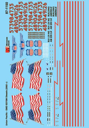 Microscale DECAL mc-4048 up Union Pacific Desert VICTORY sd40-2 #3593 h0 traccia