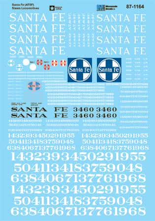 MSI601164 Microscale Inc N ATSF Steam Loco white ltr 460-601164