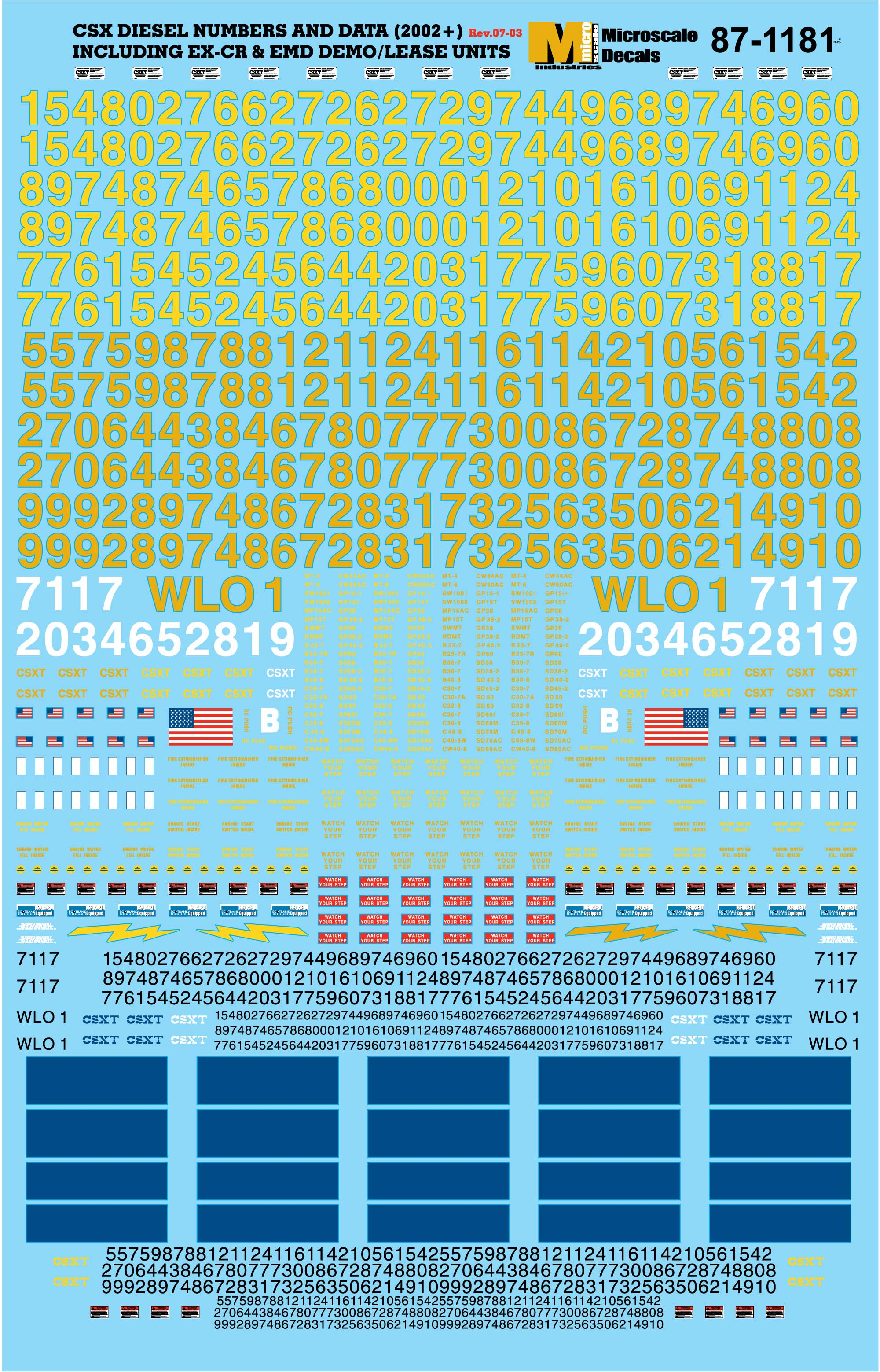 2002+ Microscale Decal #87-1181 CSX Transportation//Diesel Numbers /& Data