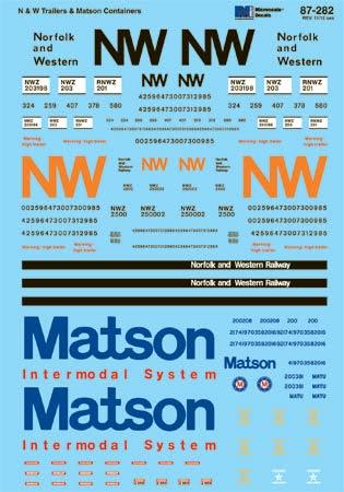 MSI60282 Microscale Inc N TOFC Trailers N&W/Matson 460-60282
