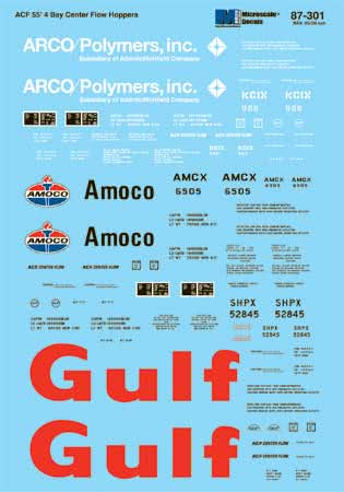 Microscale 60301 N Railroad Decal Set Covered Hoppers Arco Amoco Gulf 55' 4-Bay Center Flow 1970-80 460-60301