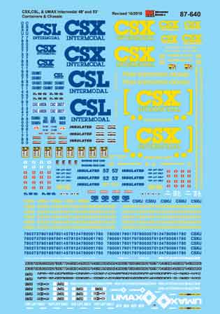 Microscale 87640 HO CSX Transportation CSX CSX CSL & UMAX 48' & 53' Containers & Chassis