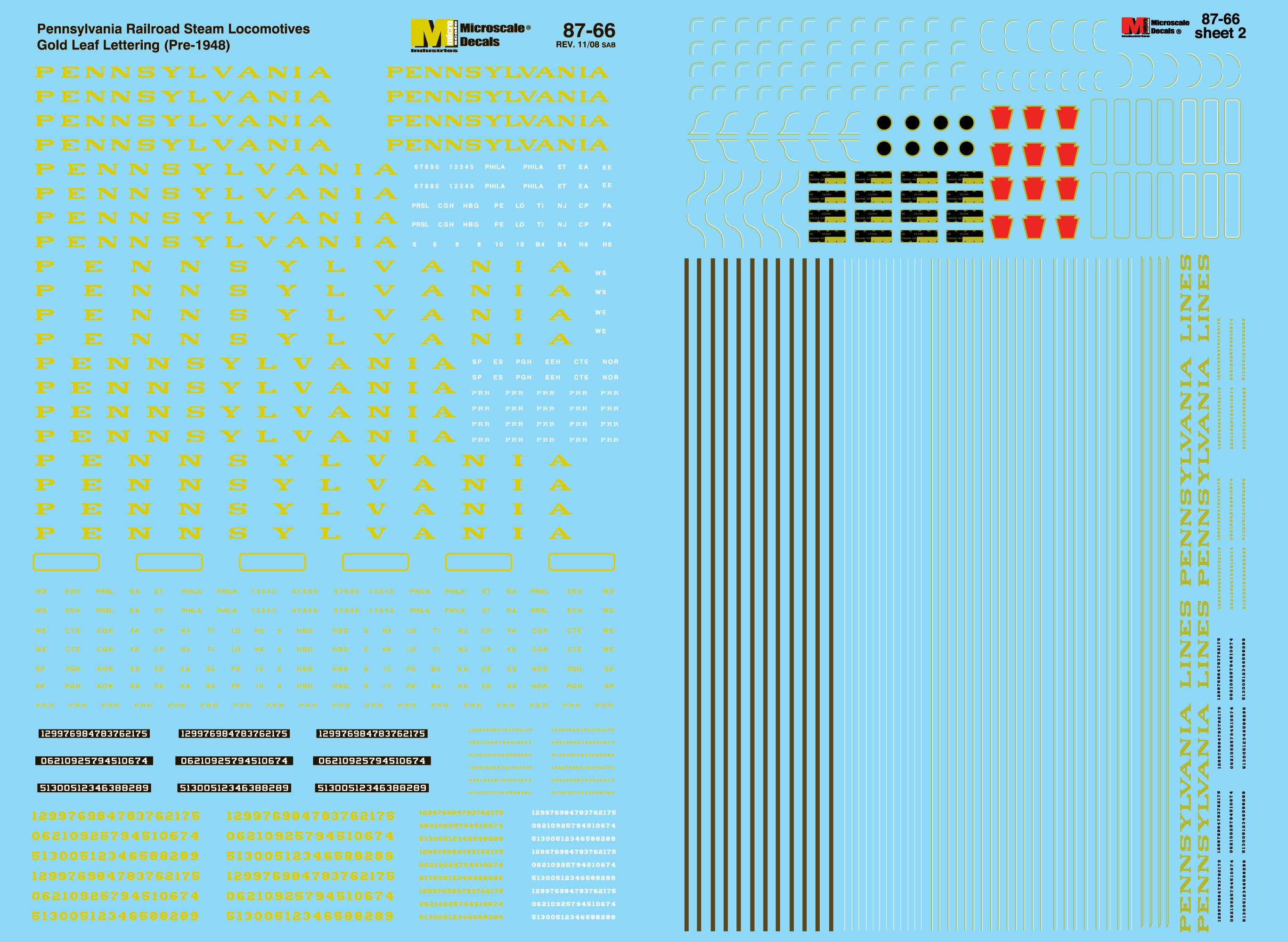 Microscale Decals: HO Scale - New 2-sheet Pennsylvania