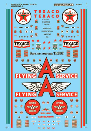 Microscale Decals: N Scale - Texaco Flying A Service Gas Station