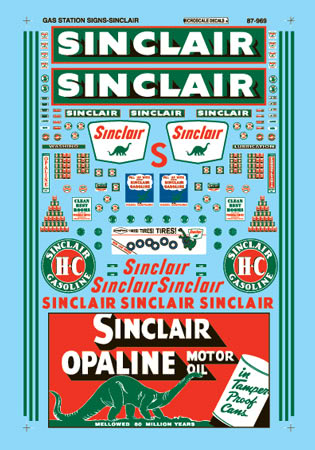 Decal 1935-1960 Microscale Decal HO #87-969 Sinclair Service Station Signs