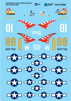 Microscale AC720046 1/72 Aircraft Decal Set B-26 Nose Art Cindy Miss Arkansas BG 444th BS 320th 460-AC720046