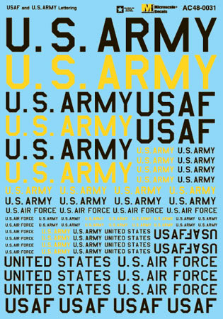 Microscale AC480031 O Military Decal Set US Air Force & U.S. Army Lettering
