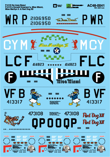 Microscale AC480041 17533 Military Decal Set P-51B Iowa Beaut P-51D: Donald Emerson's Miss Miami Miss Marilyn II & Re