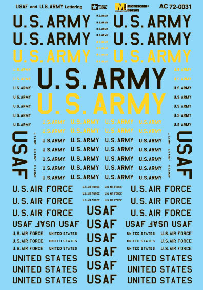 Microscale AC720031 1/72 Military Decal Set US Air Force & U.S. Army Lettering 460-AC720031