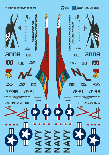 Microscale AC720038 1-72 Military Decal Set F-4s F-4B VF-51 F4J and VF-96
