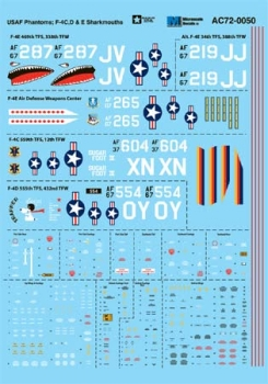 Microscale Decals: USAF Phantoms - F-4C - F-4D - F-4E Sharkmouths