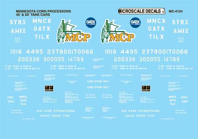 MSI604124 Microscale Inc N MCP 40' & 50' tank cars 460-604124