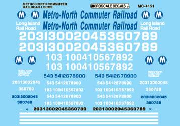 Microscale 604151 N Railroad Decal Set Metro North Diesels 1985+