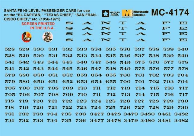Microscale 604174 N ATSF Hi-Level Passngr Car 460-604174