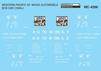 Microscale 4266 HO Western Pacific WP Mini-Cal 50' Single-Sheathed Wood Auto Boxcar Original Lettering 460-4266