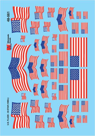 Microscale 48561 O American Flags 1960+ 50 Star