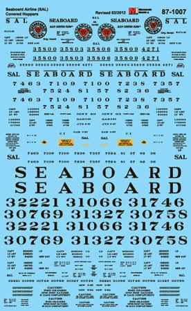 Microscale 601007 N Railroad Decal Set Seaboard Air Line Covered Hoppers 1947-63
