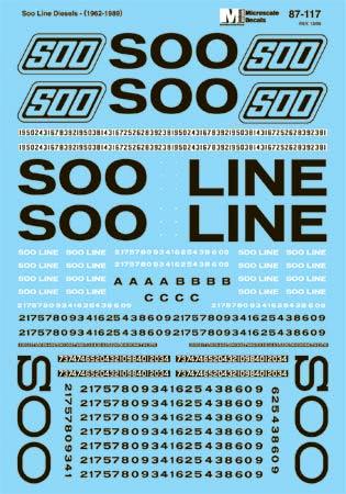 Microscale 60117 N Railroad Decal Set SOO Diesel Locomotives 1970-1980