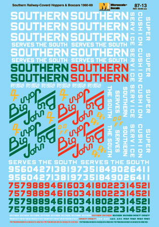 Microscale 6013 N Railroad Decal Set Southern Boxcars & Hoppers Southern Serves the South Scheme 1960-1969