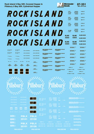 Microscale 60351 N Railroad Decal Set Rock Island/Pillsbury 54' 3-Bay Cylindrical Hoppers 1970-80