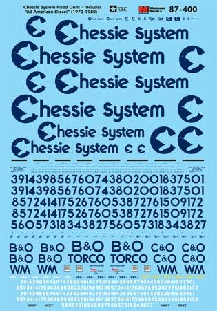 Microscale 60400 N Chessie System CHESSIE Modern Hood Unit Diesels 1970-1980