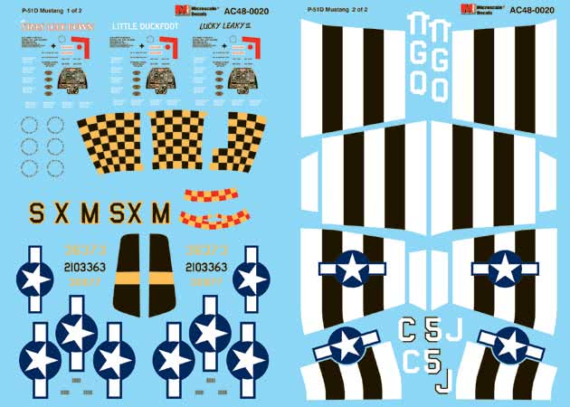Microscale AC48-20 17533 Military Decal Set P-51D Mustangs 402nd FS/ 370th FG & 336th FS/ 4th FG 1/48th Scale