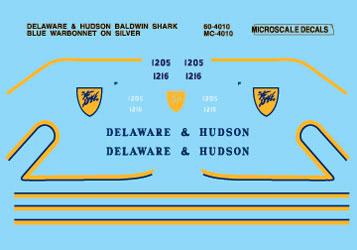 Microscale 604010 N Railroad Decal Set D&H Baldwin Shark Diesels 1950