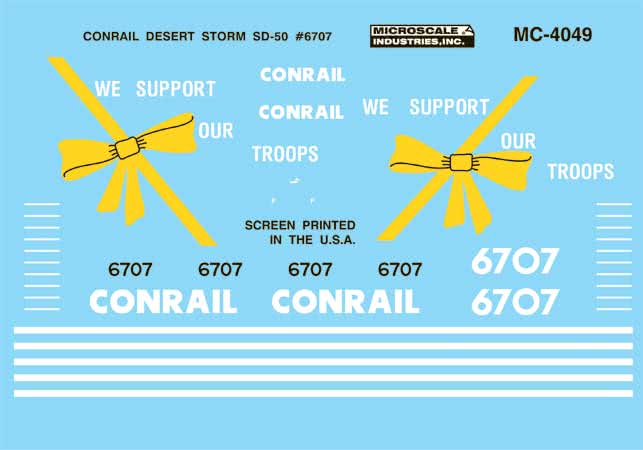 Microscale 604049 N Railroad Decal Set CR SD50 #6707-Desert Storm Scheme 1991+