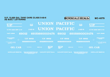 Microscale 604079 N Railroad Decal Set UP 12 500-Gallon Tank Cars 1937-55