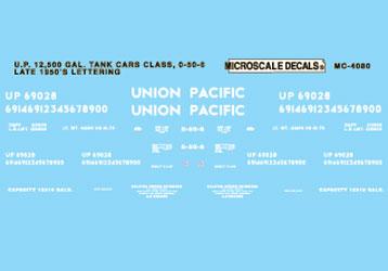 Microscale 604080 N Railroad Decal Set UP 12 500-Gallon Tank Car 1955+