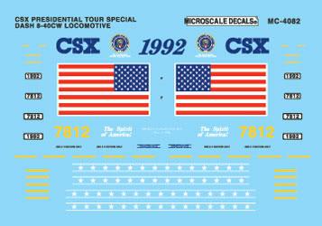 Microscale 604082 N Railroad Decal Set CSX Dash 8-40CW Diesels 1992+