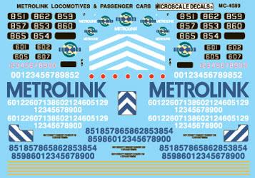 Microscale 604089 N Railroad Decal Set Metrolink Locomotives & Cars 1992+