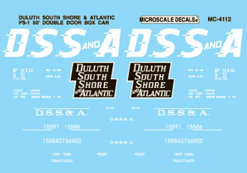 Microscale 604112 N Railroad Decal Set Assorted Box Cars Duluth South Shore & Atlantic 50' Double-Door 1957-65