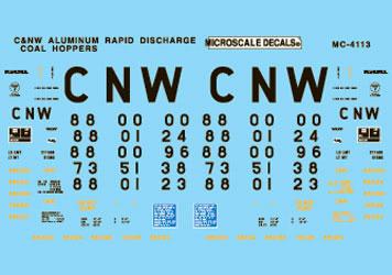 Microscale 604113 N Railroad Decal Set CNW Coal Hoppers 1994+