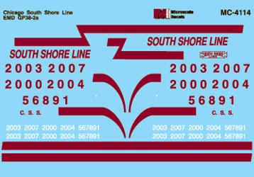 Microscale 604114 N Railroad Decal Set Chicgao South Shore GP38-2 Diesels 1989+