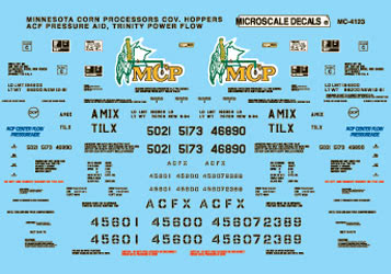 Microscale 604123 N Railroad Decal Set Covered Hoppers Minnesota Corn Processors Trinity Power Flow ACF Pressure Aid 1994+