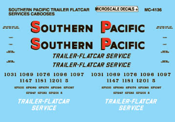 Microscale 604136 N Railroad Decal Set SP Trailer Flat Service Cabooses 1951-65
