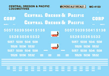Microscale 604153 N Railroad Decal Set Central Oregon & Pacific Diesels 1995+