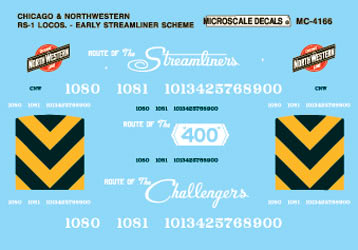 Microscale 604166 N Railroad Decal Set Chicago & North Western Steam Loco Class RS-1 1944-45
