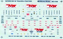 Microscale 604199 N Decal Set Nations Way Trailers & Tractors 1990+
