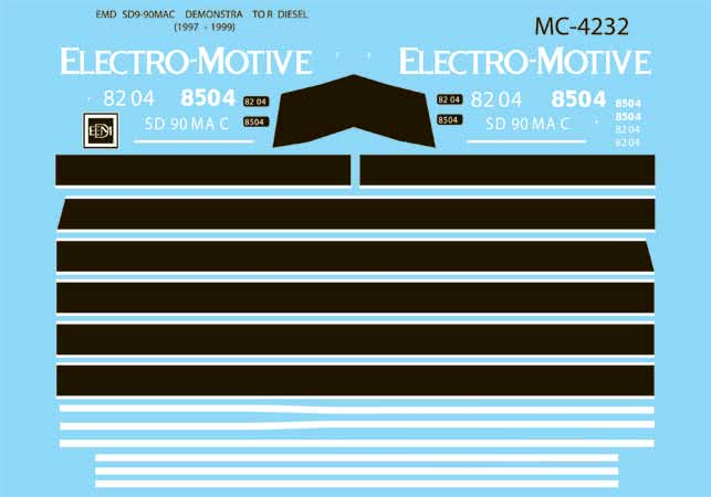 Microscale 604232 N Electro-Motive Division EMD SD90MAC Diesel Demonstrator Units 1997-1999