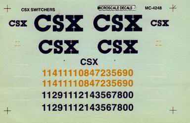 Microscale 604248 N Railroad Decal Set CSX Switchers 1990+