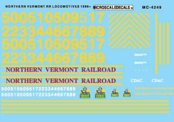 Microscale 604249 N Railroad Decal Set Vermont Northern Hood Diesels 1996+
